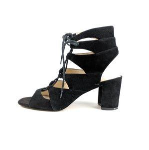 Nine West Black Leather Lace Up Heels